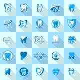 Tooth dental care logo icons set, flat style. Tooth dental care logo icons set. Flat illustration of 25 tooth dental care logo vector icons for web Stock Photo