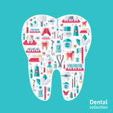 Tooth with dental icons inside. Royalty Free Stock Image