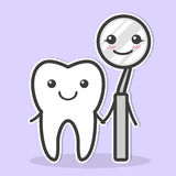 Tooth and dental mirror are friends. Royalty Free Stock Image