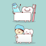 Tooth with dentist Stock Photo