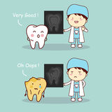 Tooth and dentist with X ray. Cartoon tooth and dentist doctor with X ray, great for health dental care concept Royalty Free Stock Images