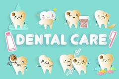 Tooth with dental care. Tooth with different emoji on the green background Stock Image