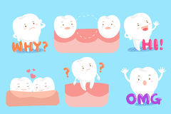 Tooth with different emotion Royalty Free Stock Image