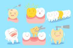 Tooth with different emotion. Cute cartoon tooth with different emotion on blue background Stock Photo