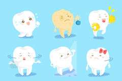 Tooth with different emotion Royalty Free Stock Images