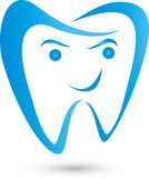 Tooth drawn in blue, tooth and dentist logo Royalty Free Stock Photo