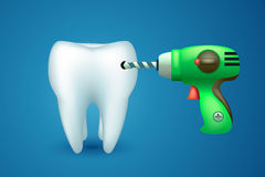 Tooth with drill. Illustration of illness single tooth with electric drill on blue background Royalty Free Stock Photos