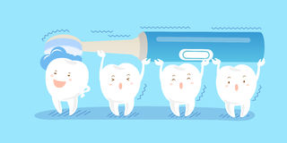 Tooth with electric toothbrush. Cute cartoon tooth with electric toothbrush on blue background royalty free illustration