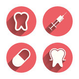 Tooth enamel icons. Medical syringe and pill Stock Photography