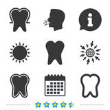 Tooth enamel protection icons. Dental care signs. Tooth enamel protection icons. Dental toothpaste care signs. Healthy teeth sign. Information, go to web and Royalty Free Stock Image