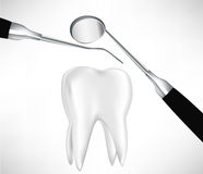 Tooth examined by dental instruments. Tooth examined by two dental instruments Royalty Free Stock Photos