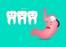 Tooth and exhausted stomach characters. Stock Photos