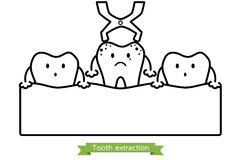 Tooth extraction by dental instrument - cartoon vector outline style Royalty Free Stock Photography