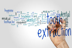 Tooth extraction word cloud Stock Photography