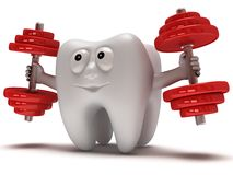 Tooth with face lifts weights Royalty Free Stock Image