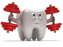 Tooth with face lifts weights Stock Image
