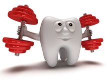 Tooth with face lifts weights Stock Photo