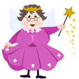 Tooth Fairy. Illustration of a friendly old tooth fairy in pink dress Stock Image