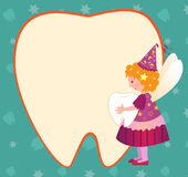 Tooth Fairy. Vector illustration of a cute tooth fairy holding a tooth and standing beside a tooth shaped blank note. Eps10 Stock Images