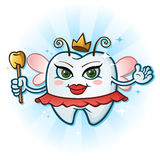 Tooth Fairy Cartoon Character With Antenna & Wand. A beautiful tooth fairy molar cartoon with a gold grown, antennae and a golden tooth wand Royalty Free Stock Photos