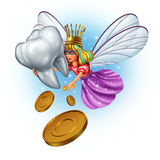 Tooth Fairy. Character as a mythical and magical princess wearing a golden tooth brush crown from a childhood fairytale holding a human molar tooth and giving stock illustration
