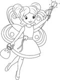 Tooth fairy coloring page. Tooth fairy flies to collect teeth, coloring page royalty free illustration