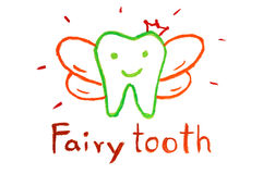 Tooth fairy - crayon drawing Stock Photography