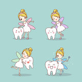 Tooth with fairy. Cute cartoon teeth smile happily with tooth fairy royalty free illustration