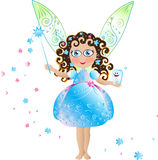 Tooth fairy. Cute Tooth  fairy with tooth on the hand,  elegant blue dress, curly hair, magic wand and  patterned delicate openwork wings Stock Photography