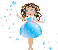 Tooth fairy. Cute Tooth  fairy with tooth on the hand,  elegant dress, curly hair and magic wand Royalty Free Stock Photo