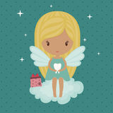 Tooth fairy. Cute little tooth fairy, sitting on a cloud royalty free illustration