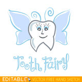 Tooth Fairy. Editable vector graphic in linear style Royalty Free Stock Images
