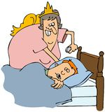 Tooth fairy exchange. This illustration depicts the tooth fairy exchanging money for a tooth under a sleeping boys pillow Stock Image