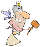 Tooth Fairy Flying With A Mallet And Bag. Cartoon Tooth Fairy Flying With A Mallet And Bag vector illustration