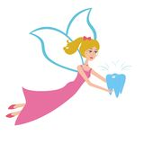 Tooth fairy flying vector. Cartoon fairy flying with tooth.Vector tooth fairy on white background royalty free illustration