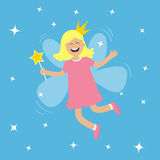 Tooth fairy flying wings. Smiling teeth mouth. Girl holding star magic wand. Shining fairy dust. Cute baby teeth cartoon character Royalty Free Stock Photos