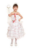 Tooth fairy girl dressed in white with wings Royalty Free Stock Image
