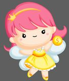 Tooth fairy holding coin. A vector of a tooth fairy holding a coin vector illustration
