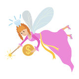Tooth fairy with a magic wand and coin Royalty Free Stock Photo