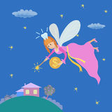 Tooth fairy with a magic wand and coin Royalty Free Stock Images
