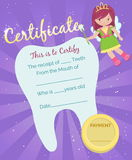 Tooth Fairy receipt certificate template. Cute tooth fairy receipt certificate template with sparkling tooth, tooth fairy girl and coin. Reward for children who stock illustration