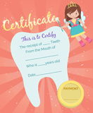 Tooth Fairy receipt certificate template Royalty Free Stock Photos