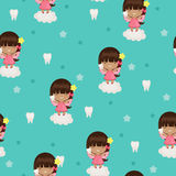 Tooth fairy seamless wallpaper vector illustration