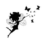 Tooth Fairy. Silhouette with butterflies Stock Photo