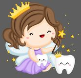 Tooth Fairy and teeth. A vector of a tooth fairy and a couple of teeth royalty free illustration