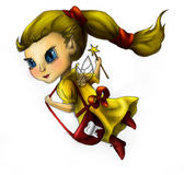 Tooth fairy in yellow dress Royalty Free Stock Photos