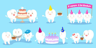 Tooth family celebrate birthday Stock Photos