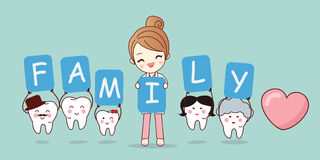 Tooth with family holding billboards Royalty Free Stock Photo