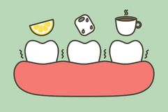 Tooth feeling sensitive teeth from cold ice, sour lemon and hot coffee drink Royalty Free Stock Images