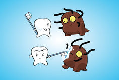 Tooth fights bacteria Royalty Free Stock Photos